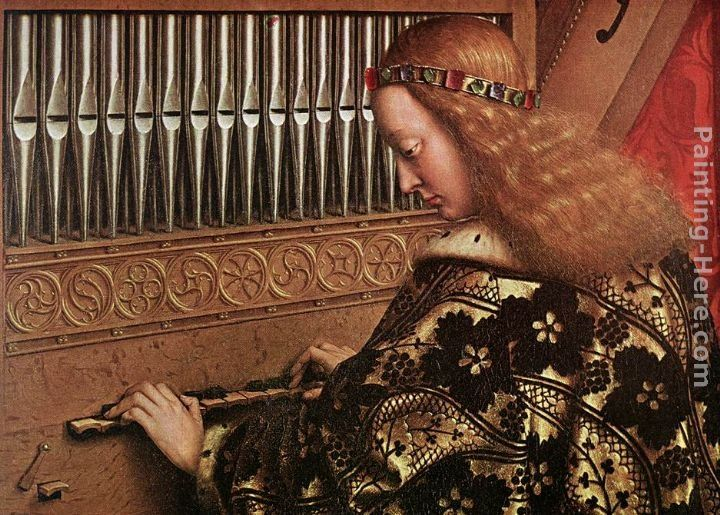 Jan van Eyck The Ghent Altarpiece Angels Playing Music [detail 1]